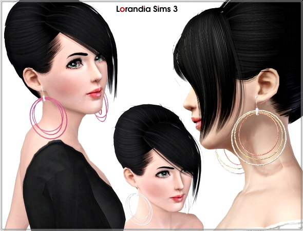 Three Circles Big Hoop Earrings by Lore at  Lorandia Sims 3 - photo big