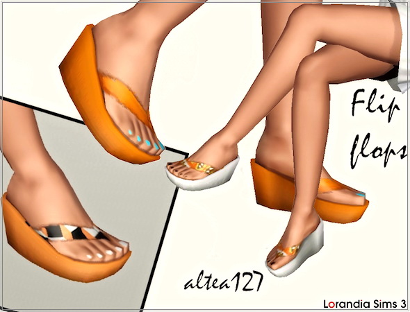 Wedge flip flops with recolorable nails by Altea127 at  Lorandia Sims 3 - photo big