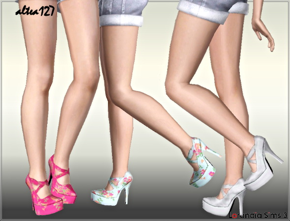 Flower high heel pumps by Altea127 at  Lorandia Sims 3 - photo big