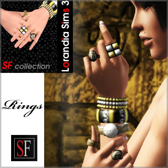 Rings included in Spiked collection featured on SF Magazine Issue 18. 4 recolorable areas, custom thumbnails, new custom mesh by Lorandia Sims 3