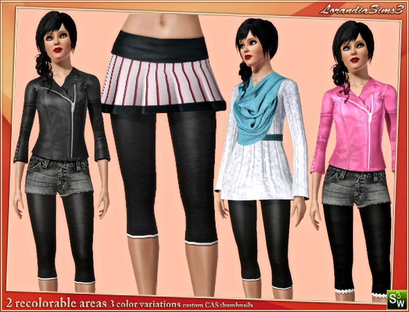 Capris leggings in 3 variations by Mirel at  Lorandia Sims 3 - photo big