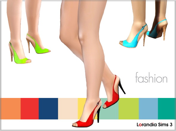 Colored Peep Toe Pumps by Lore at  Lorandia Sims 3 - photo big
