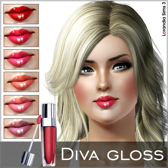 Diva gloss by Lore at Lorandia Sims 3 - photo big