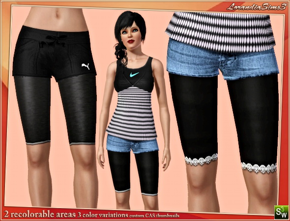 Knee length leggings  by Mirel at  Lorandia Sims 3 - photo big