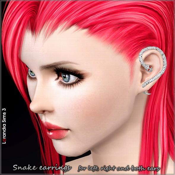 Kolczyki w uchu zawinięcia węża na prawo, w lewo lub w obu uszach w 3 sims3packs.  Całkowicie recolorable w 2 strefach, CAS niestandardowych i thubnails orbitę, nowe siatki