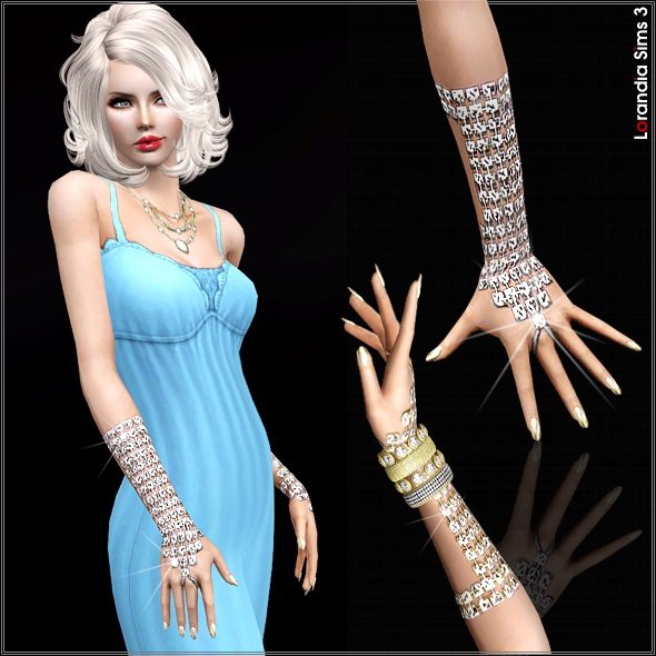 Long metallic rhinestone gloves by Lore at  Lorandia Sims 3 - photo big