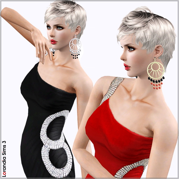 Large hoop hanging earrings by Lore at  Lorandia Sims 3 - photo big