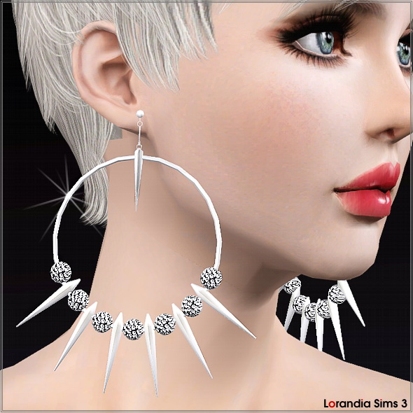Spike Hoop Earring with beads by Lore at  Lorandia Sims 3 - photo big