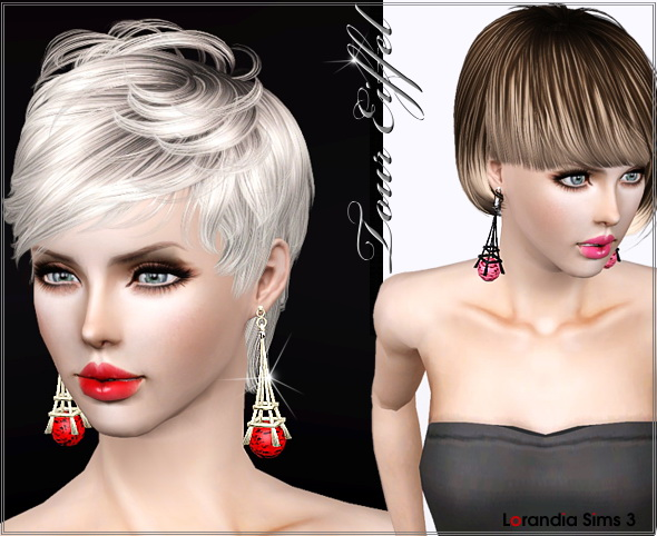 Stylized Eiffel tower earrings by Lore at  Lorandia Sims 3 - photo big