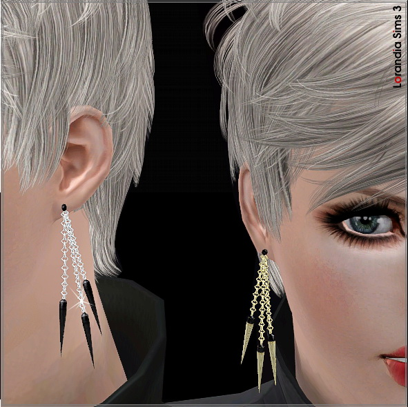 Hanging spike chain earrings by Lore at  Lorandia Sims 3 - photo big