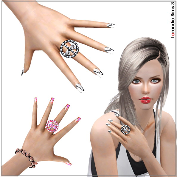 Peace sign ring, statement style by Lore at  Lorandia Sims 3 - photo big