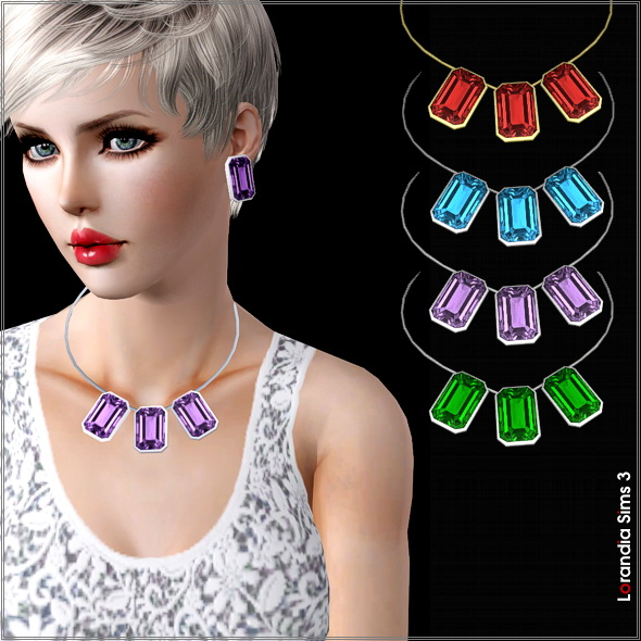 Large gemstone necklace by Lore at  Lorandia Sims 3 - photo big