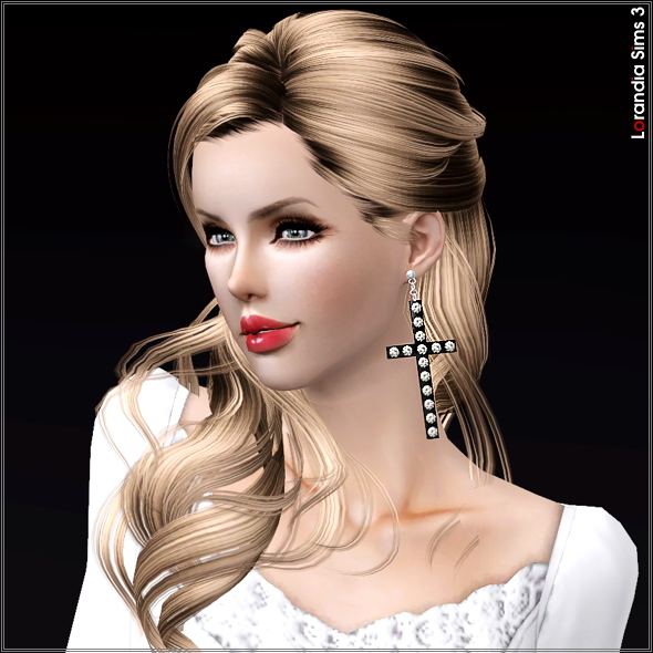 Large rhinestone cross earrings by Lore at  Lorandia Sims 3 - photo big