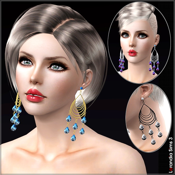 Large chandelier earrings by Lore at  Lorandia Sims 3 - photo big