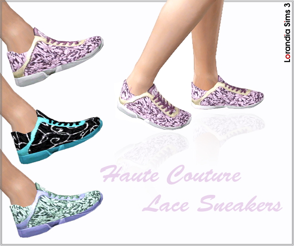 Haute Couture Lace Sneakers  by Lore at  Lorandia Sims 3 - photo big