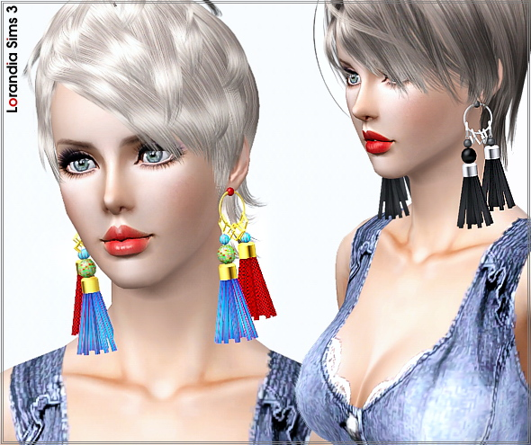 Statement tassel earrings by Lore at  Lorandia Sims 3 - photo big