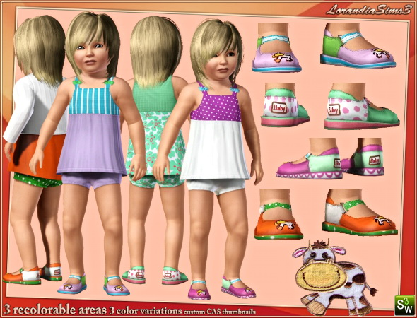 Cow applique shoes for kids by Mirel at  Lorandia Sims 3 - photo big