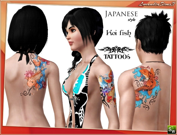 Koi fish tattoos in japanese style by Mirel at  Lorandia Sims 3 - photo big