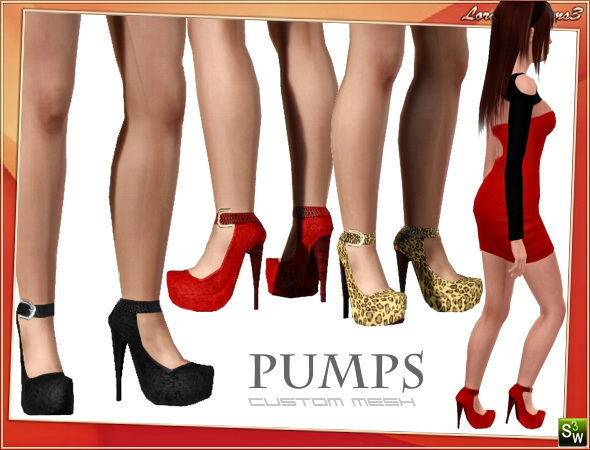 High heel platform pumps by Lore at  Lorandia Sims 3 - photo big