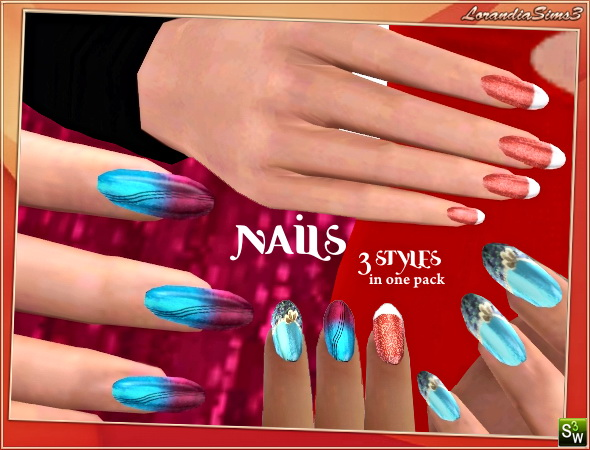 Long nails, 3 styles in one pack by Lore at  Lorandia Sims 3 - photo big