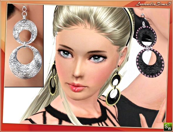 Fashion Big Circles Earrings by Lore at  Lorandia Sims 3 - photo big
