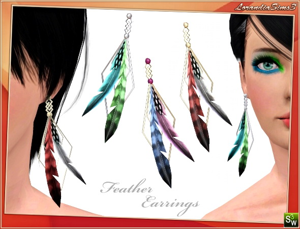 Feather earrings for your sims 3 females. 4 recolorable areas, 3 color variations, custom cas and launcher thumbnails, custom mesh by Lorandia Sims3