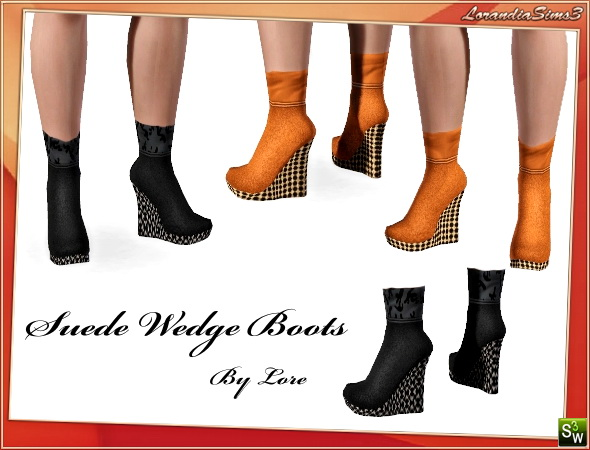 Suede Wedge Boots by Lore at  Lorandia Sims 3 - photo big