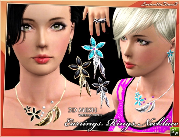 Flower Necklace 3d mesh with morphs by Lore at  Lorandia Sims 3 - photo big