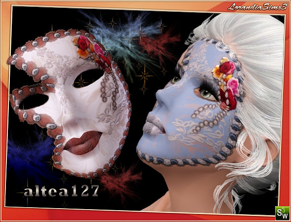 Venetian mask with flowers and lace by Altea127 at  Lorandia Sims 3 - photo big