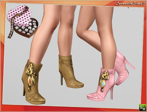 Ankle boots with bow and applications by Altea127 at  Lorandia Sims 3 - photo big