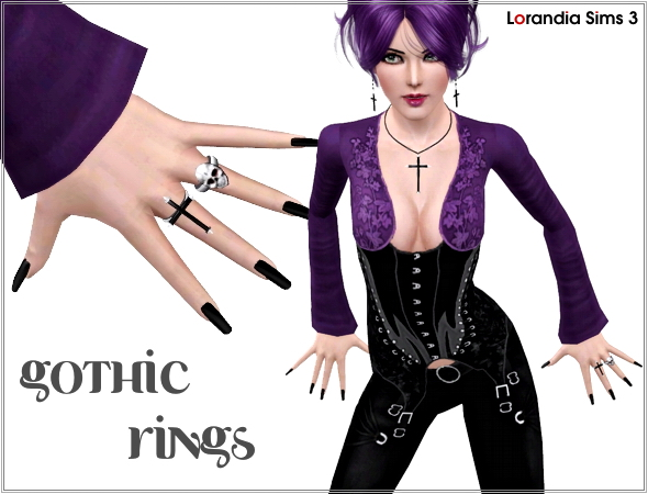 Gothic cross and skull rings by Lore at  Lorandia Sims 3 - photo big