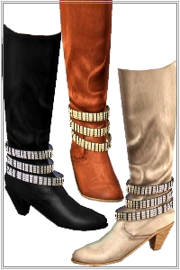 Glam rock boots with 3D studded straps. 3 recolorable areas, 3 color variations, custom thumbnails, new custom mesh by Lorandia Sims 3