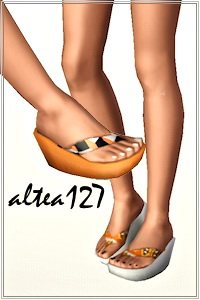 Wedge flip flops with recolorable nails. 3 recolorable areas, 3 color variations, custom cas and launcher thumbnails.