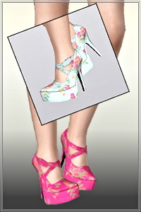 Flower high heel pumps in 3 recolorable areas, 2 color variations, custom cas and launcher thumbnails, new custom mesh by Altea127