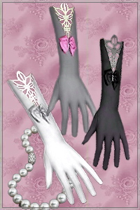 Gloves with lace and bows. Recolorable, custom cas and launcher thumbnails