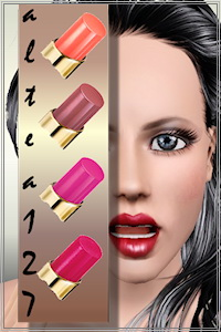 Glamorous lipstick for your Sims 3 females, recolorable, custom CAS and launcher thumbnails