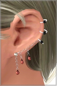 Multiple piercing chain slave earrings. 4 recolorable areas, custom cas and launcher thumbnails, new custom mesh by Lorandia Sims 3