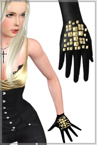 Cross studds 3D mesh accessory, can be overlay to all the gloves types and not only. By default the gloves are not included.