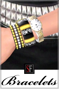 Multi Bracelets included in Spiked collection featured on SF Magazine Issue 18. 4 recolorable areas, custom thumbnails, new custom mesh by Lorandia Sims 3