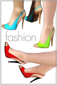Colored Peep Toe Pumps. A great EA shoes texture adapted and modified for a new custom mesh with a trendy look. Recolorable, base game compatible.