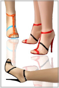 Ankle strap high heel sandals. 3 recolorable areas, 3 color variations, custom thumbnails, new custom mesh, base game compatible.