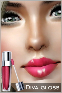 Diva gloss for a divalicious look. 3 recolorable areas, custom thumbnails. Opacity set to default 100 in previews - play with it for different effects.