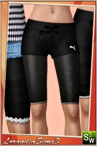Knee length leggings in 3 variations, regular, with mesh and shinny for your sims 3 female from teen to elder. 2 recolorable areas, CAS thumbnails.
