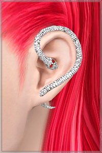 Snake earrings wrap around ear for right, left or both ears in 3 sims3packs. Fully recolorable in 2 zones, custom CAS and launcher thubnails, new mesh