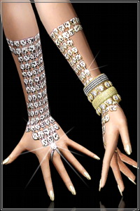 Long metallic rhinestone gloves in a opulent indian trendy style. Can be overlayed with other bracelets, 3 color channels, base game compatible