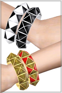 Double Pyramid Bracelet in 4 recoroble areas, 3 color variations included, custom CAS and launcher thumbnails, new custom mesh, base game compatible