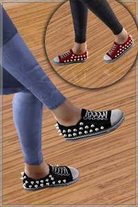 Spiked Sneakers. 4 recolorable areas, 2 color variations included, custom cas and launcher thumbnails, custom mesh base game compatible