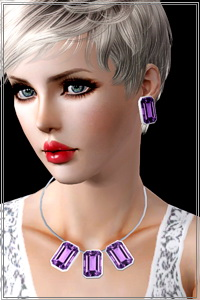 Large gemstone necklace, 3 recolorable areas, 4 color variations included, custom thumbnails, new custom mesh with morphs, W.A.required