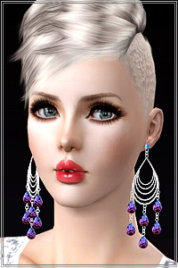 Large chandelier earrings with crystals. 3 recolorable areas, new custom mesh base game compatible. High Poly mesh, use only with good graphic cards.