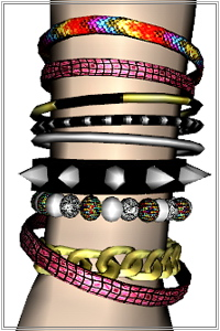 Multi layered bracelet featuring chain, spikes, bangles, beads, cords....4 recolorable zones, custom thumbnails, new custom mesh, base game compatible.